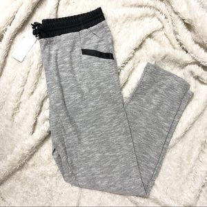 Vero Moda Grey Heather Sweatpants w Faux Leather